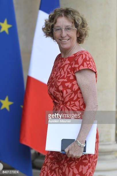 French Minister of Labor Muriel Penicaud arrives at Elysee Palace for a cabinet meeting on August 28 2017 in Paris France