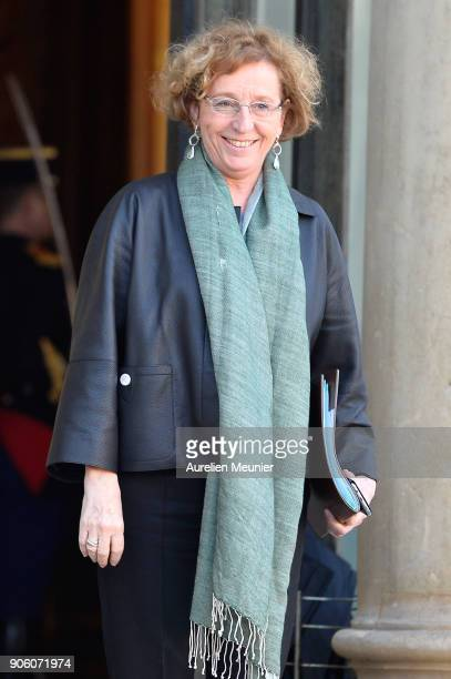 French Minister of Labor Muriel Penicaud leaves the Elysee Palace after the weekly cabinet meeting with French President Emmanuel Macron on January...