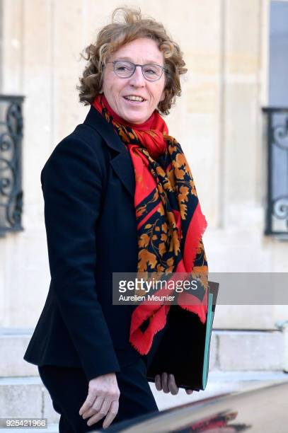 French Minister of Labor Muriel Penicaud leaves the Elysee Palace after the weekly cabinet meeting on February 28 2018 in Paris France