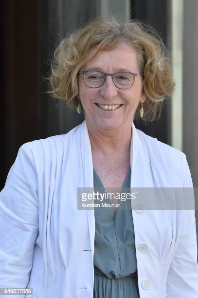 French Minister of Labor Muriel Penicaud leaves the Elysee Palace after the weekly cabinet meeting on April 20 2018 in Paris France