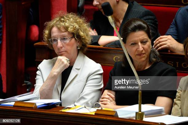 French Minister of Labor Muriel Penicaud reacts as Ministers answer deputies during the weekly questions to the government at Assemblee Nationale on...