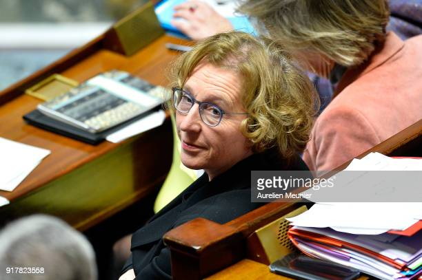 French Minister of Labor Muriel Penicaud reacts as Ministers answer deputies questions during the weekly session of questions to the government at...