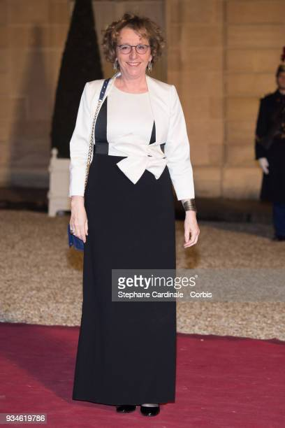 French Minister of Labour Muriel Penicaud attends a State dinner at the Elysee Palace on March 19 2018 in Paris France The Duke and Duchess of...