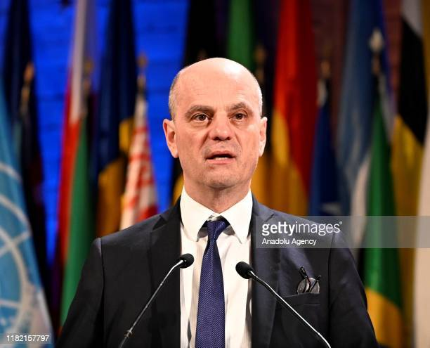 French Minister of National Education and Youth JeanMichel Blanquer delivers a speech during the 40th session of the United Nations Educational...