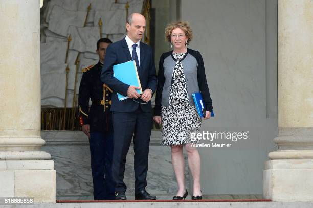 French Minister of National Education JeanMichel Blanquer and French Minister of Labor Muriel Penicaud leave the Elysee Palace after the weekly...