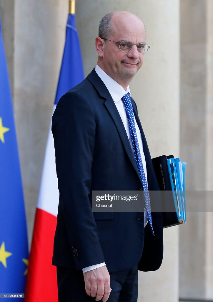 French Minister of National Education Jean-Michel Blanquer leaves the Elysee Presidential Palace after a weekly cabinet meeting on February 21, 2018 in Paris, France. Two French soldiers were killed today in Mali during an operation of the French army.