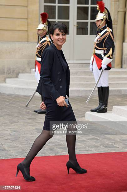 French Minister of National Education Najat VallaudBelkacem is seen in the courtyard of the Hotel Matignon on June 3 2015 in Paris France