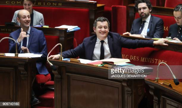 French Minister of Public Action and Accounts Gerald Darmanin and lawmaker of the La Republique en Marche party and bill recorder Stanislas Guerini...