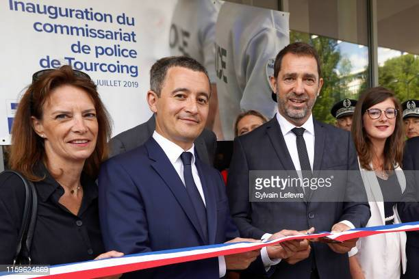 French Minister of Public Action and Accounts Gerald Darmanin and french Interior minister Christophe Castaner inaugurate the new police station on...