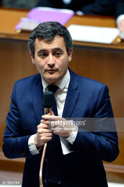 French Minister of Public Action and Accounts Gerald Darmanin answers deputies questions during the weekly session of questions to the government at...