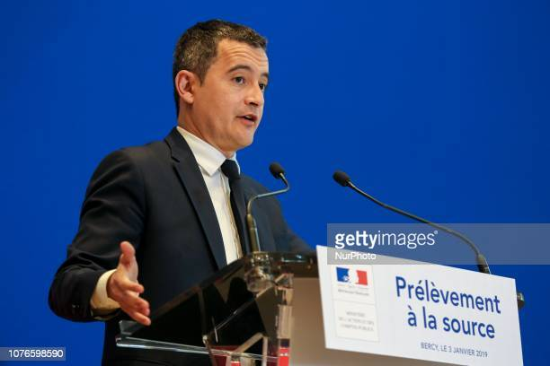 French Minister of Public Action and Accounts Gerald Darmanin gestures as he speaks during a press conference on January 3 2019 at the economy...