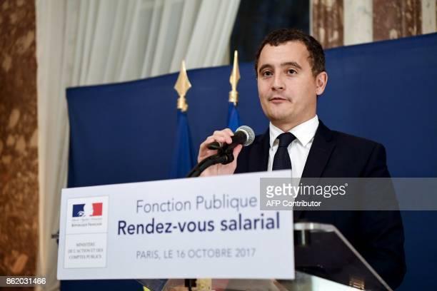 French Minister of Public Action and Accounts Gerald Darmanin holds a press conference after a meeting with labour unions on October 16 in Paris More...