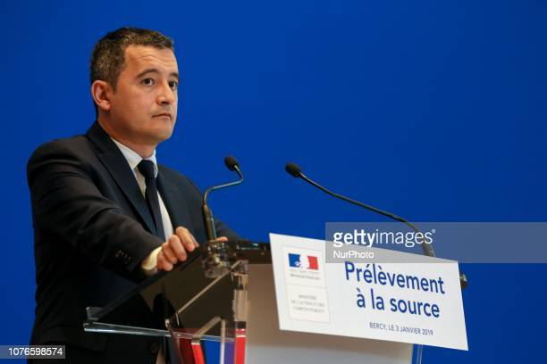 French Minister of Public Action and Accounts Gerald Darmanin looks on during a press conference on January 3 2019 at the economy ministry in Paris...