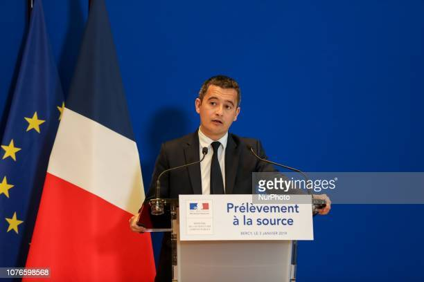 French Minister of Public Action and Accounts Gerald Darmanin speaks during a press conference on January 3 2019 at the economy ministry in Paris as...