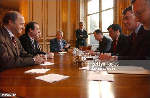French minister of social affairs François Fillon and French minister for state employees receive a Socialist party delegation as part of the talks...