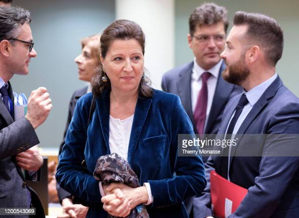 French Minister of Solidarity and Health Agnes Buzyn arrives for an emergency EU health ministers meeting on 2019 novel coronavirus in the EU Council...