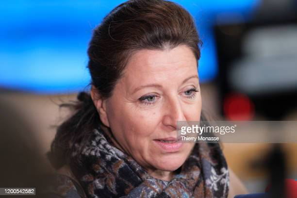 French Minister of Solidarity and Health Agnes Buzyn is talking to media prior the start of an emergency EU health Ministers on 2019 novel...
