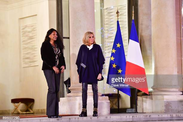 French minister of sport Laura Flessel and wife of the French president Brigitte Macron wait to greet the France squad before the reception for the...