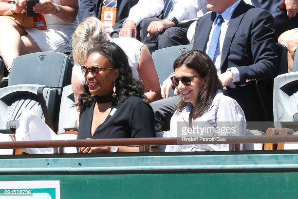 French Minister of Sports Laura Flessel and Mayor of Paris Anne Hidalgo attend the Women Final of the 2017 French Tennis Open Day Fourteen at Roland...