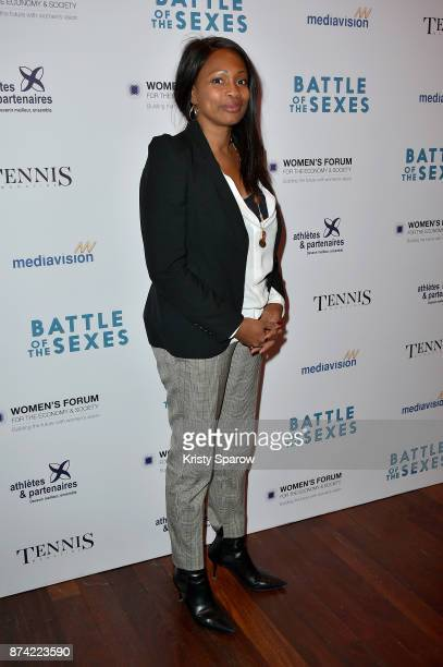 French Minister of Sports Laura Flessel attends the 'The Battle Of The Sexes' Paris Premiere at Publicis Champs Elysees on November 14 2017 in Paris...
