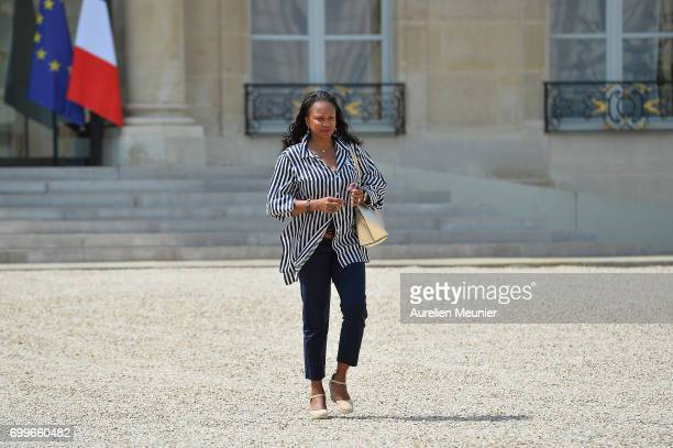 French Minister of Sports Laura Flessel leaves the Elysee Palace after the weekly cabinet meeting with French President Emmanuel Macron on June 22...
