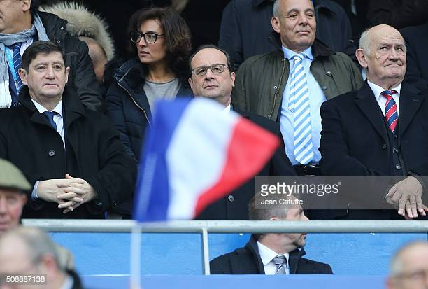 French Minister of Sports Patrick Kanner Nathalie Iannetta Hollande's adviser for sports French President Francois Hollande President of French Rugby...