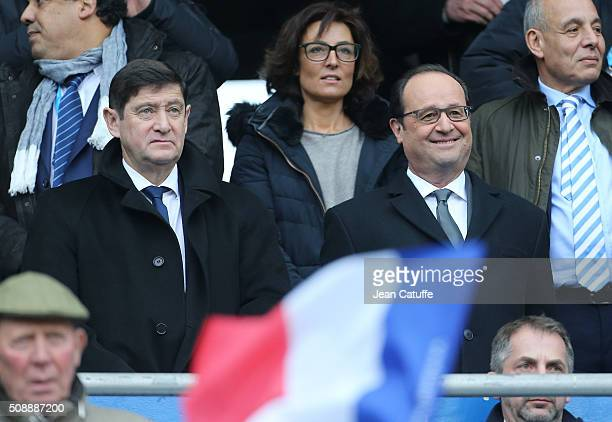 French Minister of Sports Patrick Kanner Nathalie Iannetta Hollande's adviser for sports French President Francois Hollande attend the RBS 6 Nations...