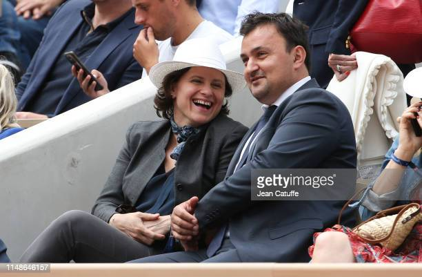 French Minister of Sports Roxana Maracineanu and JeanFrancois Martins attend the women's final during day 14 of the 2019 French Open at Roland Garros...