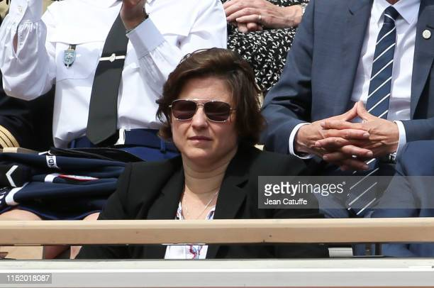 French minister of sports Roxana Maracineanu attends the victory of Roger Federer of Switzerland during day 1 of the 2019 French Open at Roland...