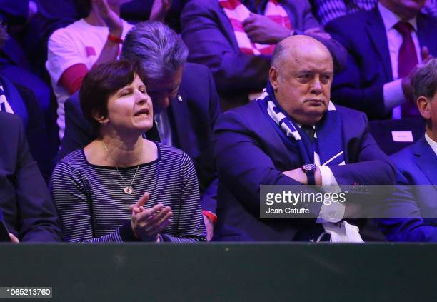 French Minister of Sports Roxana Maracineanu President of French Tennis Federation FFT Bernard Giudicelli during day 3 of the 2018 Davis Cup final...