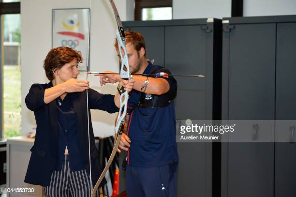 French Minister of Sports Roxana Maracineanu tries archery as she visits INSEP with Prince Edward Earl Of Wessex and Sophie Countess Of Wessex on...