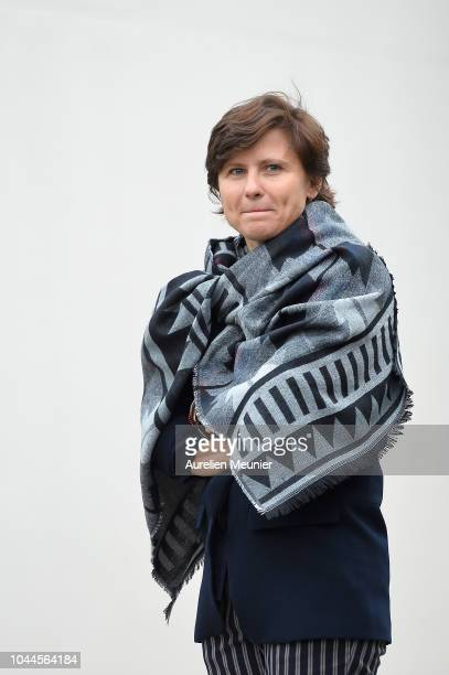 French Minister of Sports Roxana Maracineanu waits for Prince Edward Earl Of Wessex and Sophie Countess Of Wessex to welcome them for a visit of...