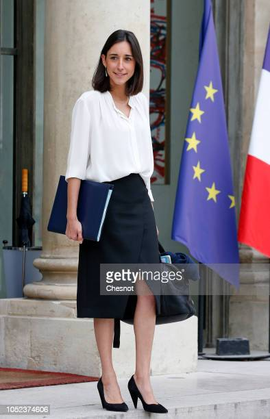 French Minister of State attached to the Ministre d'etat Minister for the Ecological and Inclusive Transition Brune Poirson leaves the Elysee...