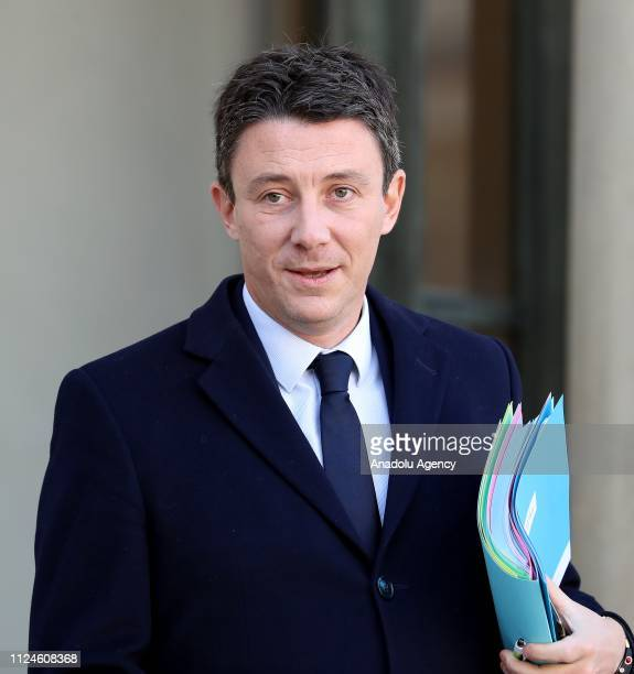 French Minister of State attached to the Prime Minister Government Spokesman Benjamin Griveaux leaves the Elysee Palace after a weekly cabinet...