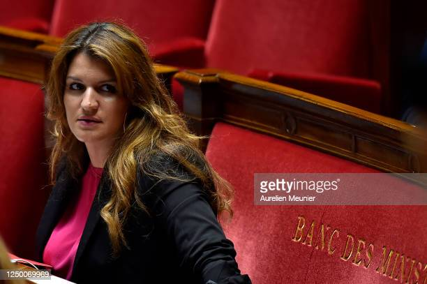 French Minister of State for Gender Equality and the Fight against Discrimination, attached to the Prime Minister Marlene Schiappa reacts as...