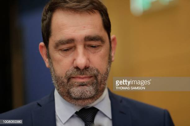 French Minister of State for Relations with Parliament and centrist party La Republique en Marche head Christophe Castaner appears before the Senate...