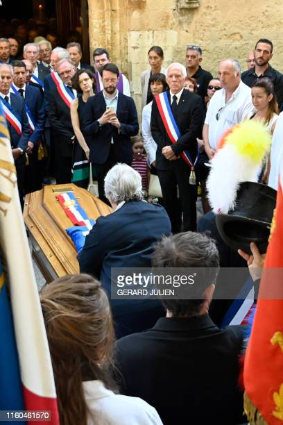 French Minister of Territorial Cohesion and Relations with Territorial Communities Jacqueline Gourault lays a posthumous Legion of Honour on the...