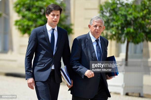 French Minister of Territorial Cohesion Jacques Mezard and junior minister Julien Denormandie leave the Elysee Palace after the weekly cabinet...