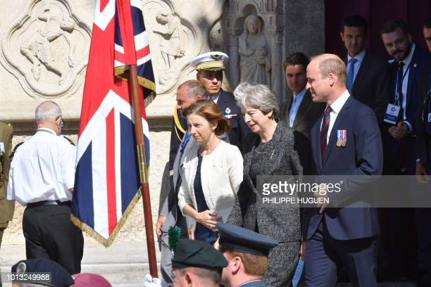 French Minister of the Armed Forces Florence Parly Britain's Prime Minister Theresa May Britain's Prince William the Duke of Cambridge leave the...
