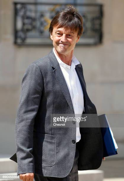 French Minister of the Ecological and Social Transition Nicolas Hulot leaves the Elysee Presidential Palace after a weekly cabinet meeting on May 31...