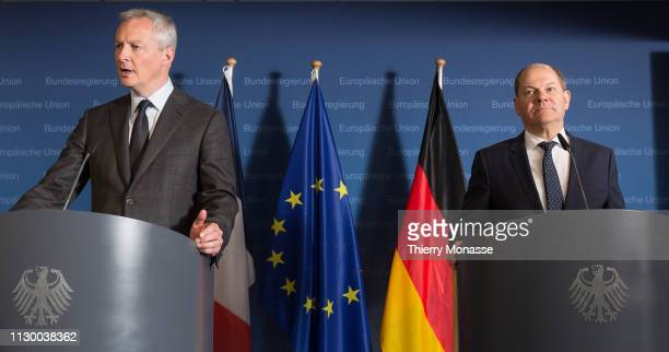 French Minister of the Economy and Finance Bruno Le Maire and the Vice Chancellor of Germany and Federal Minister of Finance Olaf Scholz are talking...