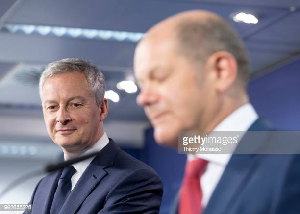 French Minister of the Economy Bruno Le Maire and the German Federal Minister of Finance Olaf Scholz are talking to media at the end of an EcoFin...