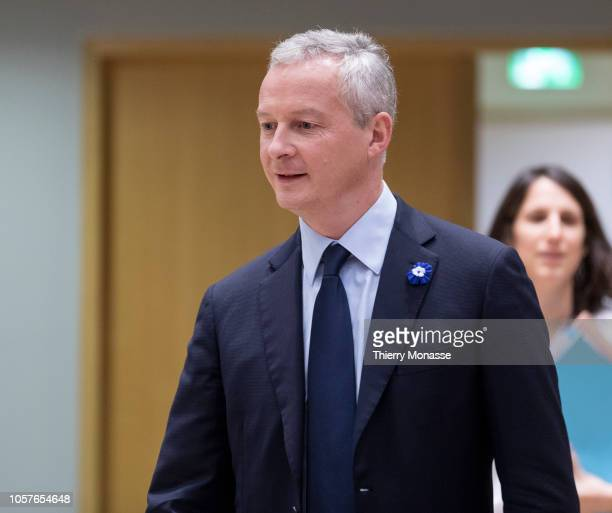 French Minister of the Economy Bruno Le Maire arrives for a meeting of Eurogroup finance ministers at the Europa building the European Council...