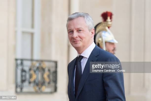 French Minister of the Economy Bruno Le Maire is seen during the visit of Saudi Arabia's Crown Prince Mohammed bin Salman at Elysee Palace on April...