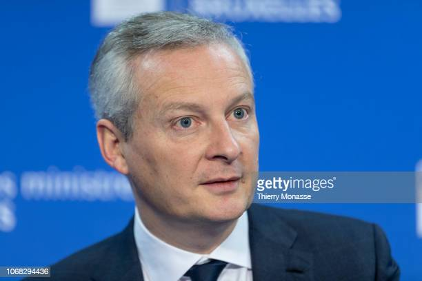 French Minister of the Economy Bruno Le Maire talks to media during an EcoFin finance ministers at the Justus Lipsius building the European Council...
