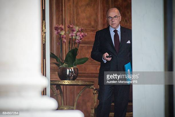 French Minister of the Interior Bernard Cazeneuve attends the meeting between French President Francois Hollande and Sheikh Ahmad AlTayeb the Grand...
