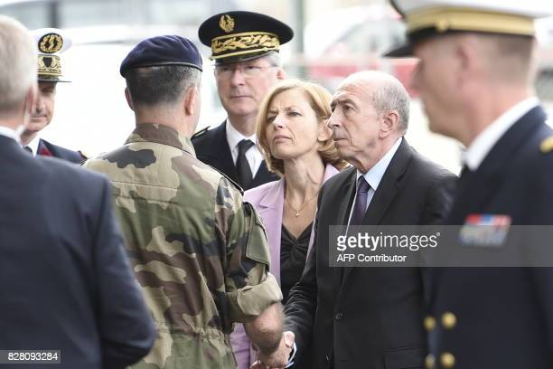 French Minister of the Interior Gerard Collomb and French Defence Minister Florence Parly meet with French military as they arrive at Begin Military...