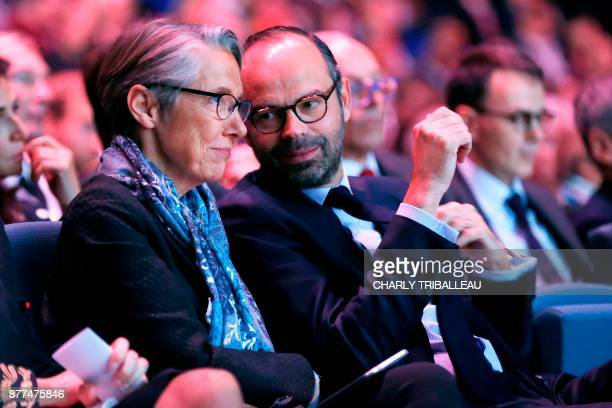 French Minister of Transport Elisabeth Borne and French Prime Minister Edouard Philippe talk during the opening of the National Convention of the Sea...