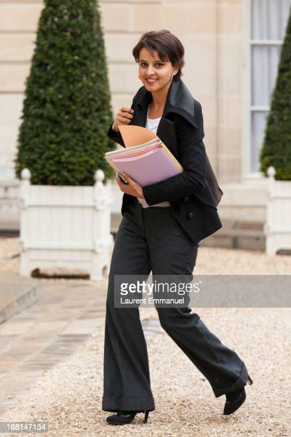 French Minister of Women's Rights Najat VallaudBelkacem arrives for a work meeting of government ministers presided by French President Francois...