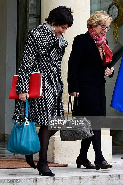 French Minister Responsible for the Family Dominique Bertinotti and French Minister of Higher Education and Research Genevieve Fioraso leave the...
